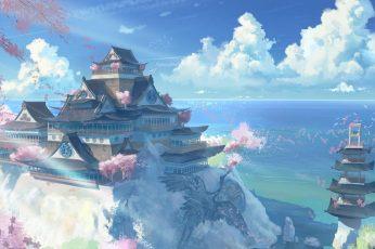 Wallpaper Nature Art Temple And Pagoda Illustration, Anime