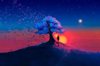Wallpaper Nature Art Trees, Nature, Artwork, Digital Art