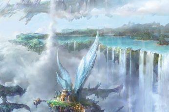 Wallpaper Nature Art Waterfalls Digital Wallpaper, Anime