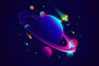 Wallpaper Neon, Vibrant, Solar System, Minimal, Planets