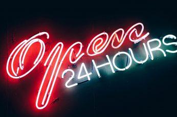 Wallpaper Open 24 Hours, Neon, Neon Sign
