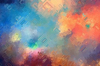 Wallpaper Orange, Blue, And Green Digital, Abstract