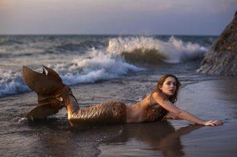 Wallpaper Photo Of Mermaid On Seashore, Fantasy Art