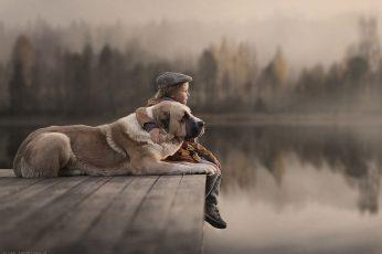 Wallpaper Photography, Animals, Dog, Children, Lake