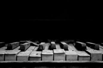 Wallpaper Piano Bw Black Hd, Gray And Black Piano Keys, Music