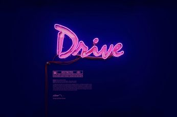 Wallpaper Pink Drive Neon Signage, Movies, Typography