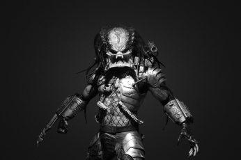 Wallpaper Predator Bw Hd, Gray Scale Photo Of An Alien, Movie