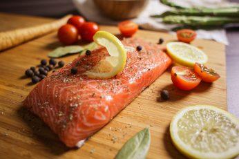 Wallpaper Preparing Salmon Steak Close Up, Fillet, Food