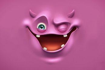 Wallpaper Purple Ghost, Purple Monster 3d Illustration