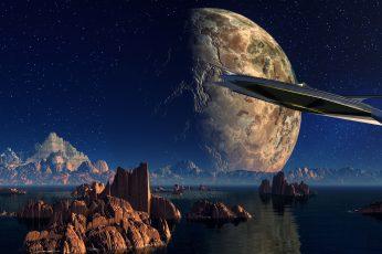 Wallpaper Scifi Landscape, Science Fiction, Space Age