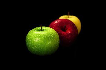 Wallpaper Several Assorted Color Apples, Black Background