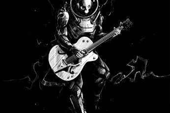 Wallpaper Skeleton, Guitar, Bw, Guitarist, Spacesuit, Art
