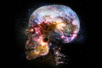 Wallpaper Skull Illustration, Space, Universe, Abstract