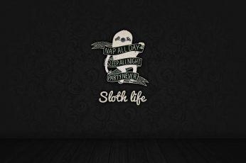 Wallpaper Sloth Life Text, Nap All Day Sleep All Night