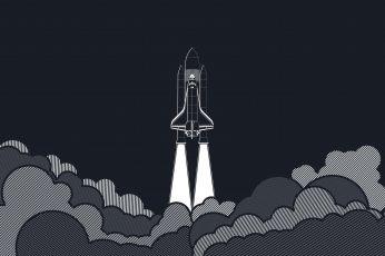 Wallpaper Space Shuttle Illustration, Minimalism, Artwork