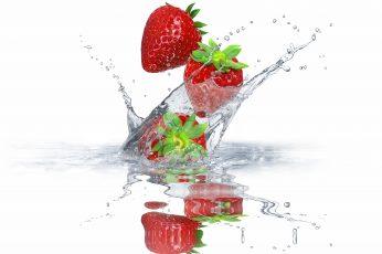 Wallpaper Strawberry Fruits, Water, Squirt, Berries, Fresh