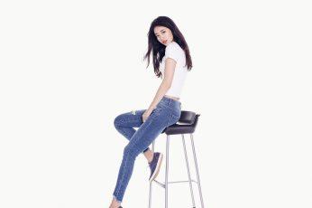 Wallpaper Suji, Girl, Kpop, Studio Shot, White Background