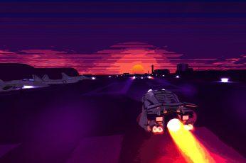 Wallpaper Sunset, 8k, 4k, Neon, Battle Station, Retro
