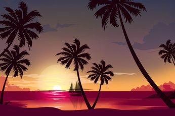 Wallpaper Sunset, The Sun, The Ocean, Sea, Beach, Minimalist