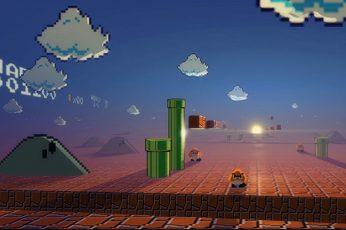Wallpaper Super Mario, Digital Art, Pixel Art, Video Games
