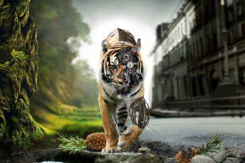 Wallpaper Tiger Illustration, Fantasy Art, Animals