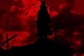Wallpaper Uchiha Itachi, Naruto Shippuuden, Silhouette