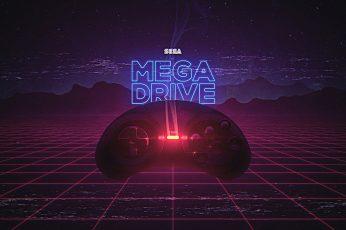 Wallpaper Sega Mega Drive, Retrowave, Retro Games
