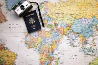 Wallpaper Vintage Grey And Black Camera Near Passport