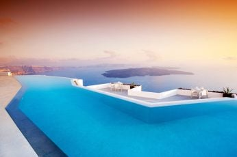 Wallpaper White And Blue Infinity Pool, Swimming Pool, Landscape