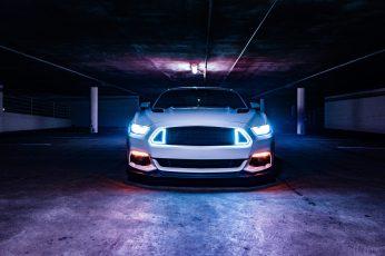 Wallpaper White Car On Gray Road, Headlight, Glow, Neon