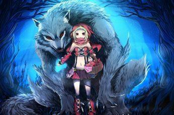 Wolf little red riding hood anime wallpaper