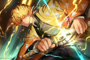 Wallpaper Anime, Demon Slayer Kimetsu No Yaiba, Zenitsu