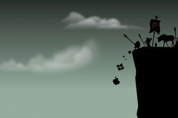 Wallpaper Apple Logo, Linux, Gnu, Debian, Sky, Cloud Sky