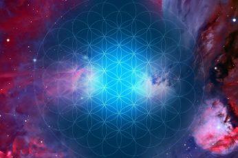 Wallpaper Art Sacred Geometry Flower Of Life Space Man