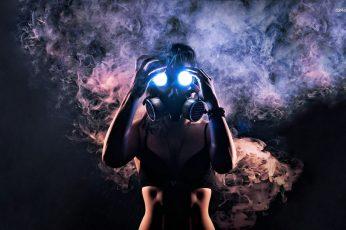 Wallpaper Black Gas Mask, Gas Masks, Smoke