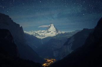 Wallpaper Black Mountain, Snow, Winter, Lights, Night, Stars
