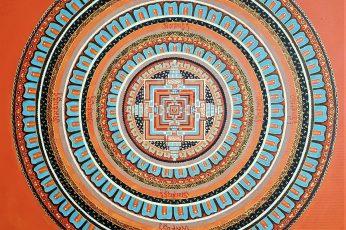 Wallpaper Blue And Orange Mandala Painting Art Acrylic