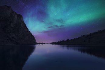 Wallpaper Blue Body Of Water, Aurora Borealis