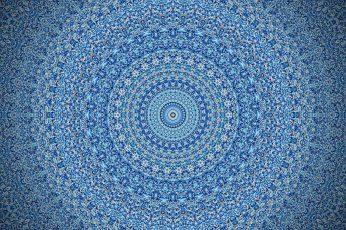 Wallpaper Blue Mandala Illustration White Textile