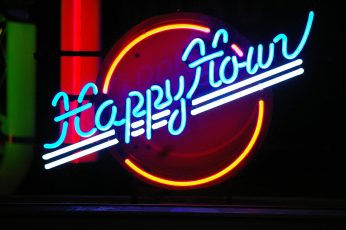 Wallpaper Blue, Yellow, And White Happy Hour Neon Sign