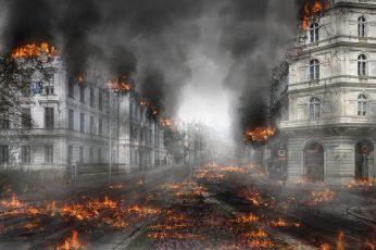 Wallpaper Burned Down City, Armageddon, Destruction