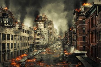 Wallpaper Burning City With With Dark Smoke Illustration