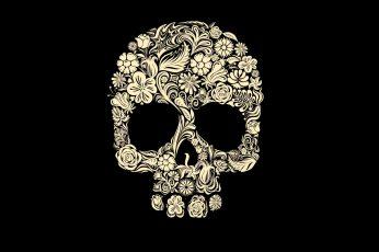 Wallpaper Calavera Illustration White Floral Skull Mandala