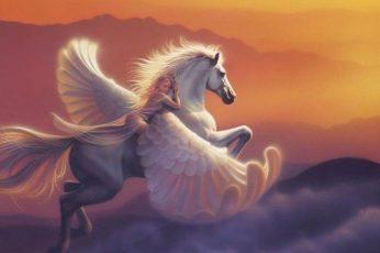 Wallpaper Cloud, Fantasy, Girl, Horse, Pegasus, Sky, Sunset