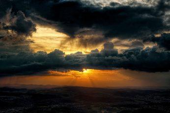 Wallpaper Cloudy Sky During Orange Sunset, Clouds, Sunlight