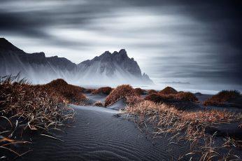 Wallpaper Dark, Nature, Mountains, Iceland, Vestrahorn