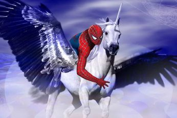 Wallpaper Fantasy, Artistic, Spider Man, Unicorn