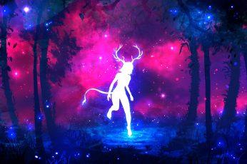 Wallpaper Forest, Purple, Grass, Water, Girl, Space, Stars