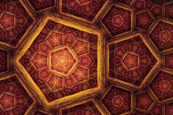 Wallpaper Fractal Gold Mosaic Red And Beige Mandala