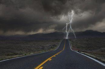 Wallpaper Gray And Orange Road, Freeway Struck By Lightning